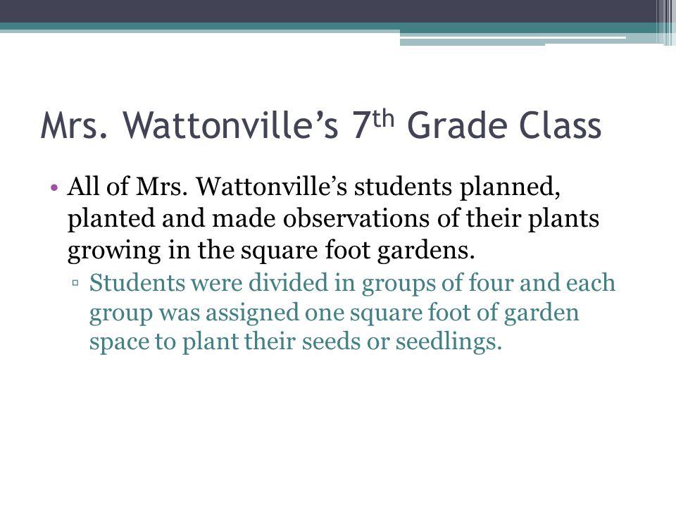 Mrs. Wattonville's 7 th Grade Class All of Mrs.