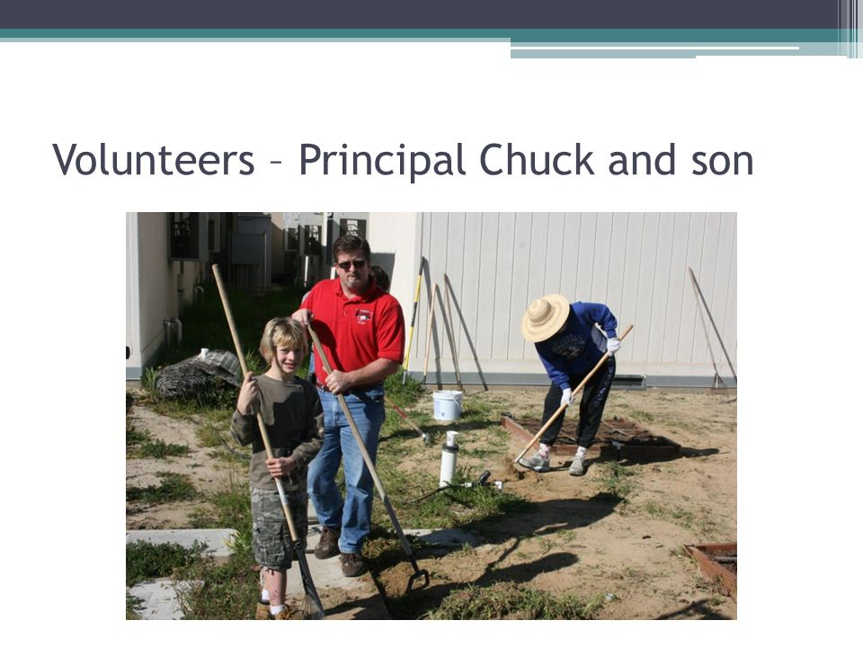 Volunteers – Principal Chuck and son