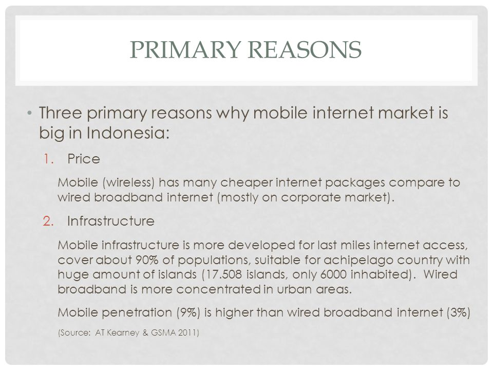 PRIMARY REASONS Three primary reasons why mobile internet market is big in Indonesia: 1.Price Mobile (wireless) has many cheaper internet packages com