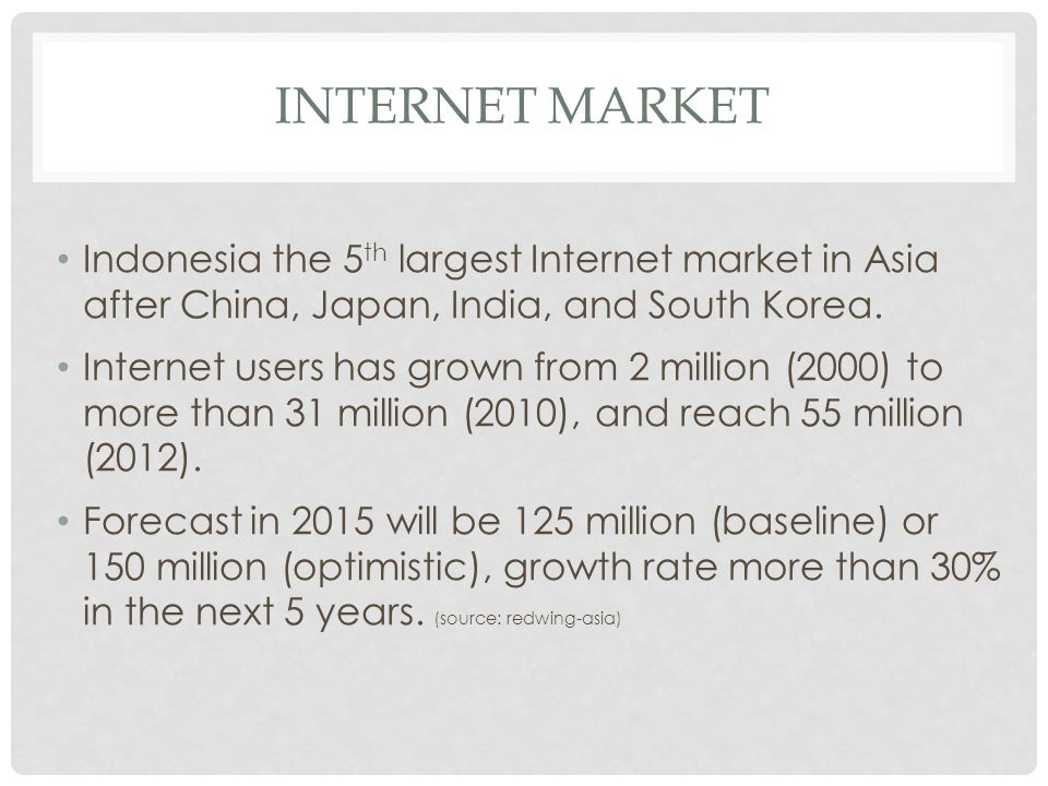 INTERNET MARKET Indonesia the 5 th largest Internet market in Asia after China, Japan, India, and South Korea. Internet users has grown from 2 million