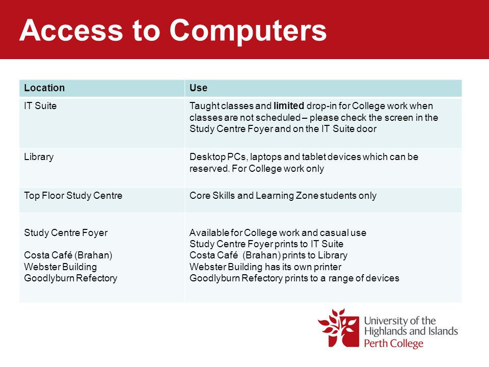 Access to Computers Brahan Building LocationOpening TimesTime limitsBooking IT Suite PCs9:00am – 4:00pmDepending on availabilityCheck availability - displayed on screen in Study Centre Foyer and on the IT Suite door Library PCs Laptops/tablets 8:00am – 9.00pm Friday close at 4:45pm 8:00am – 9.00pm Friday close at 4:45pm 2 hour slots – can be extended on request Walk-up but can be booked in advance in Library Book with staff.