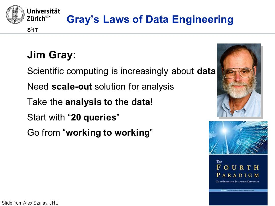 S 3 IT Gray's Laws of Data Engineering Jim Gray: Scientific computing is increasingly about data Need scale-out solution for analysis Take the analysis to the data.