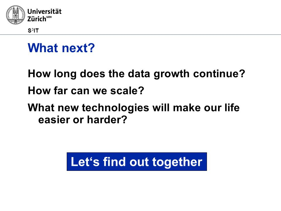 S 3 IT What next. How long does the data growth continue.