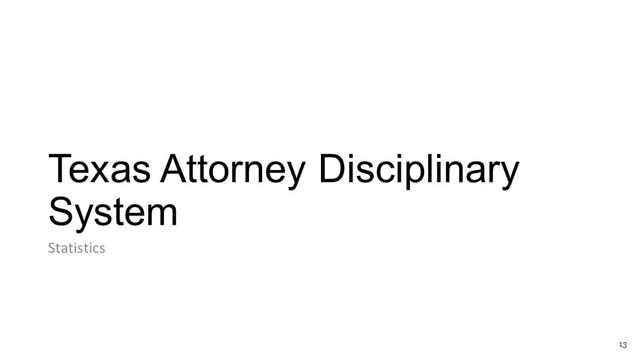 Texas Attorney Disciplinary System Statistics 13