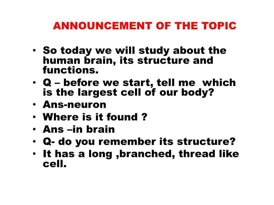 ANNOUNCEMENT OF THE TOPIC So today we will study about the human brain, its structure and functions.