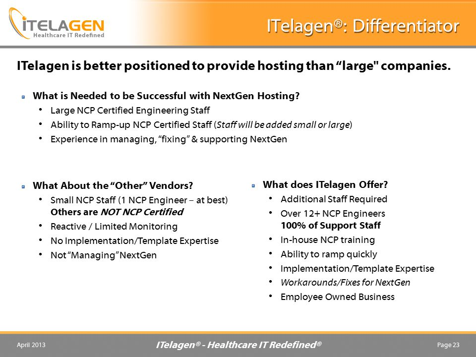 ITelagen® - Healthcare IT Redefined® April 2013Page 23 ITelagen®: Differentiator What is Needed to be Successful with NextGen Hosting.
