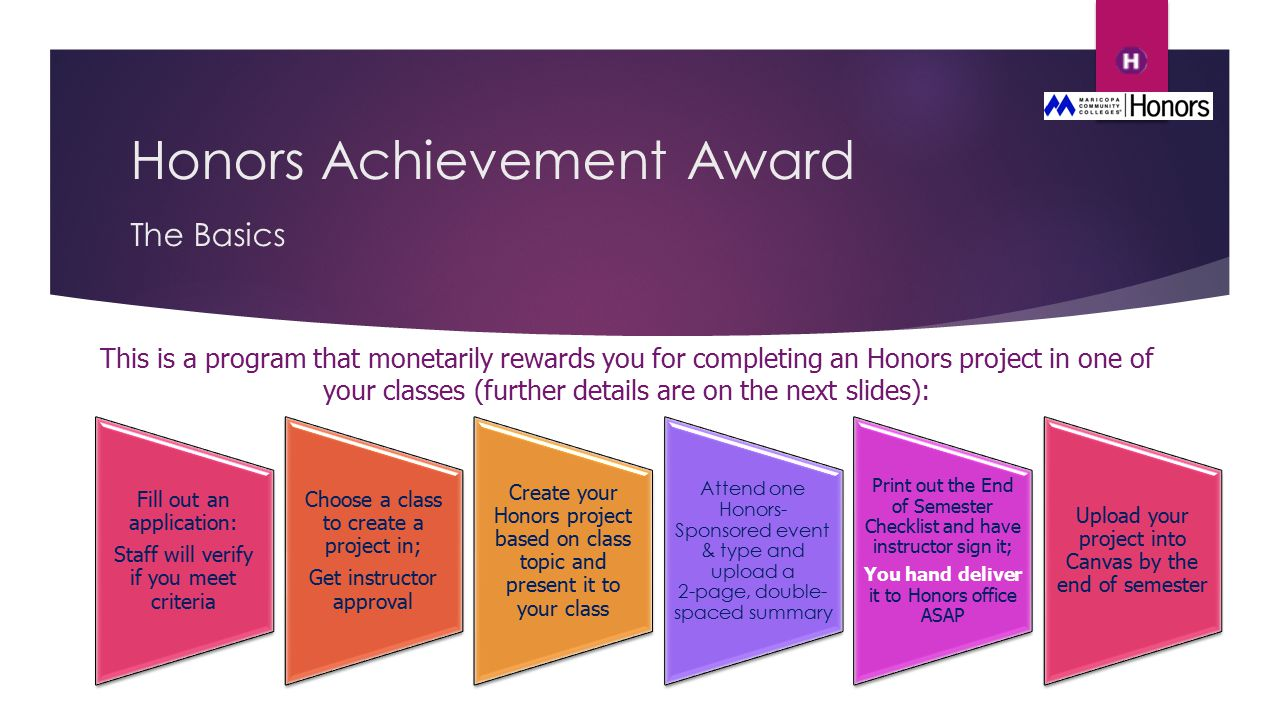 Honors Achievement Award The Basics This is a program that monetarily rewards you for completing an Honors project in one of your classes (further details are on the next slides): Fill out an application: Staff will verify if you meet criteria Choose a class to create a project in; Get instructor approval Create your Honors project based on class topic and present it to your class Attend one Honors- Sponsored event & type and upload a 2-page, double- spaced summary Print out the End of Semester Checklist and have instructor sign it; You hand deliver it to Honors office ASAP Upload your project into Canvas by the end of semester