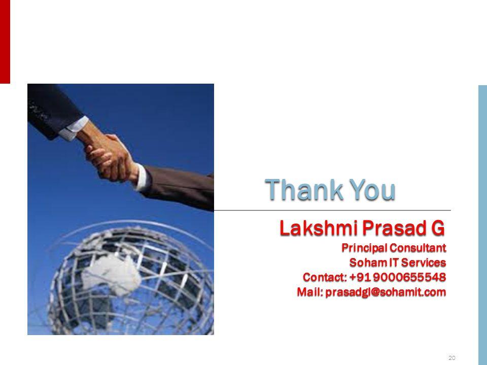 20 Thank You Lakshmi Prasad G Principal Consultant Soham IT Services Contact: +91 9000655548 Mail: prasadgl@sohamit.com
