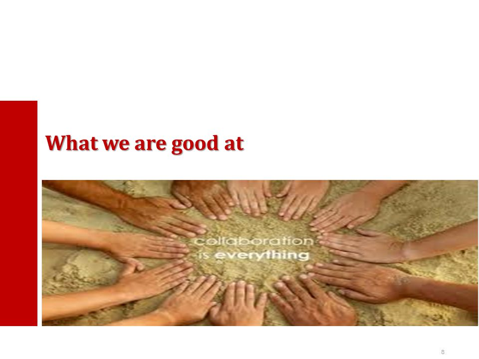 8 What we are good at