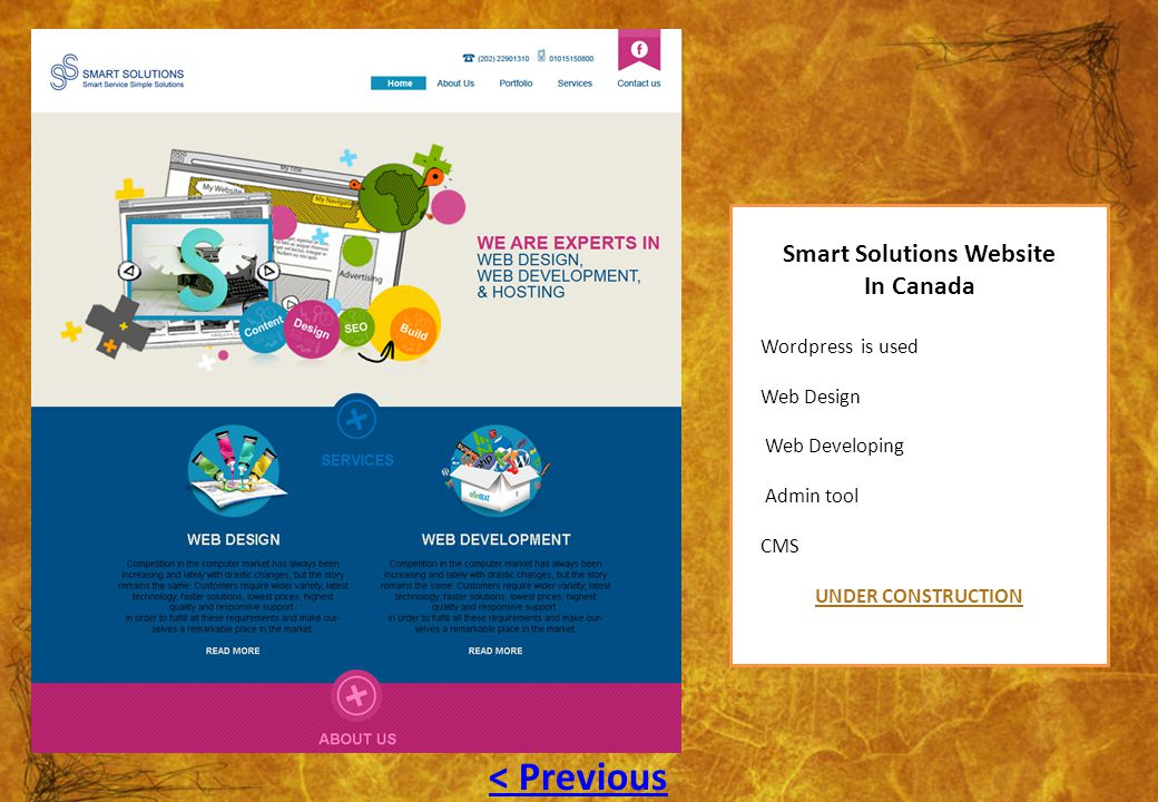 Smart Solutions Website In Canada Wordpress is used Web Design Web Developing Admin tool CMS UNDER CONSTRUCTION < Previous