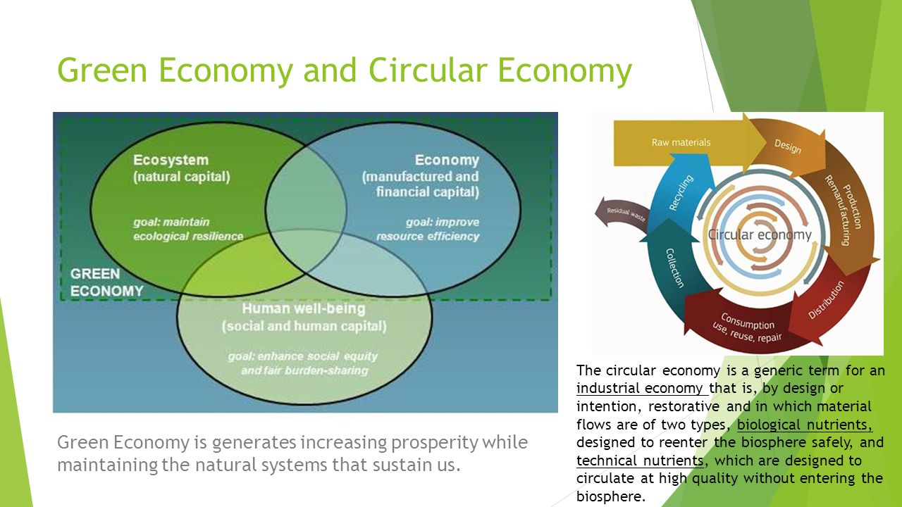 Green Economy and Circular Economy Green Economy is generates increasing prosperity while maintaining the natural systems that sustain us.