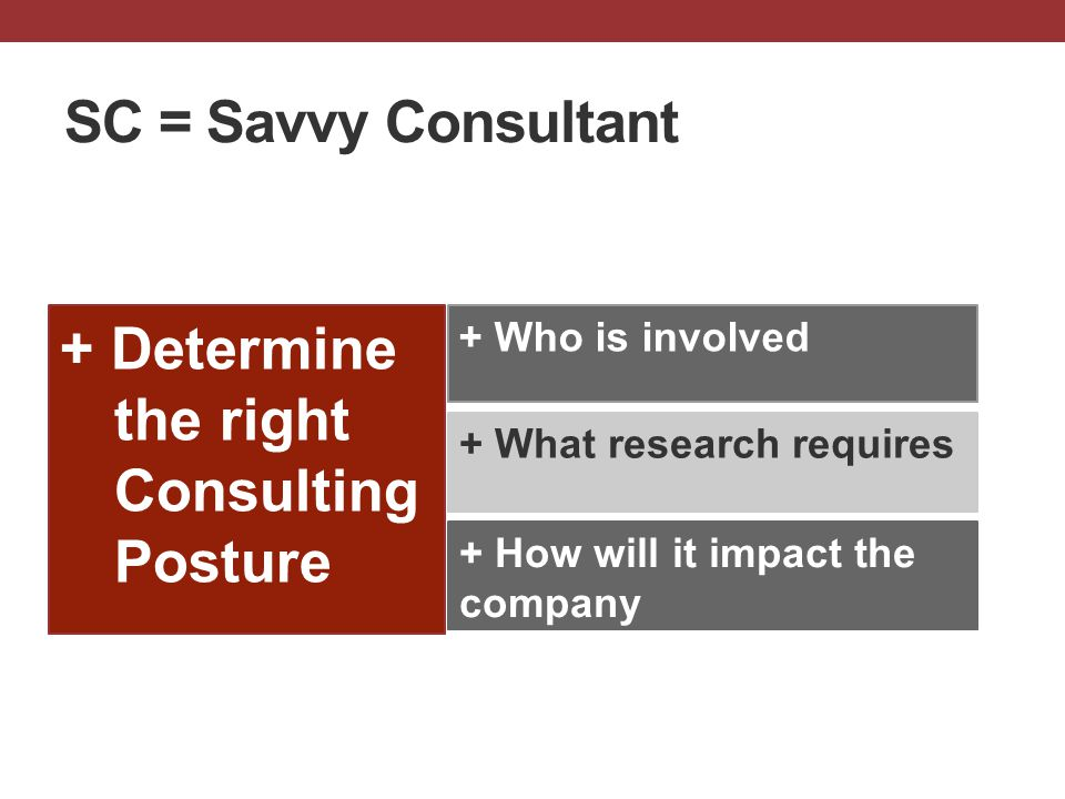 + Determine the right Consulting Posture + What research requires + Who is involved SC = Savvy Consultant + How will it impact the company