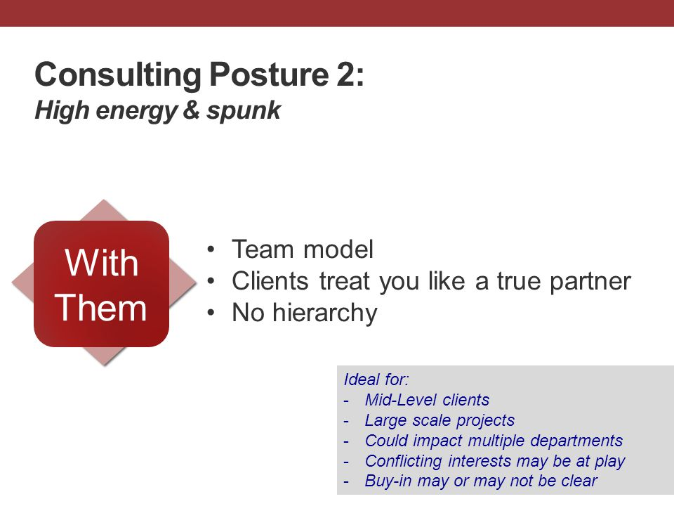 Consulting Posture 2: High energy & spunk Team model Clients treat you like a true partner No hierarchy With Them Ideal for: -Mid-Level clients -Large