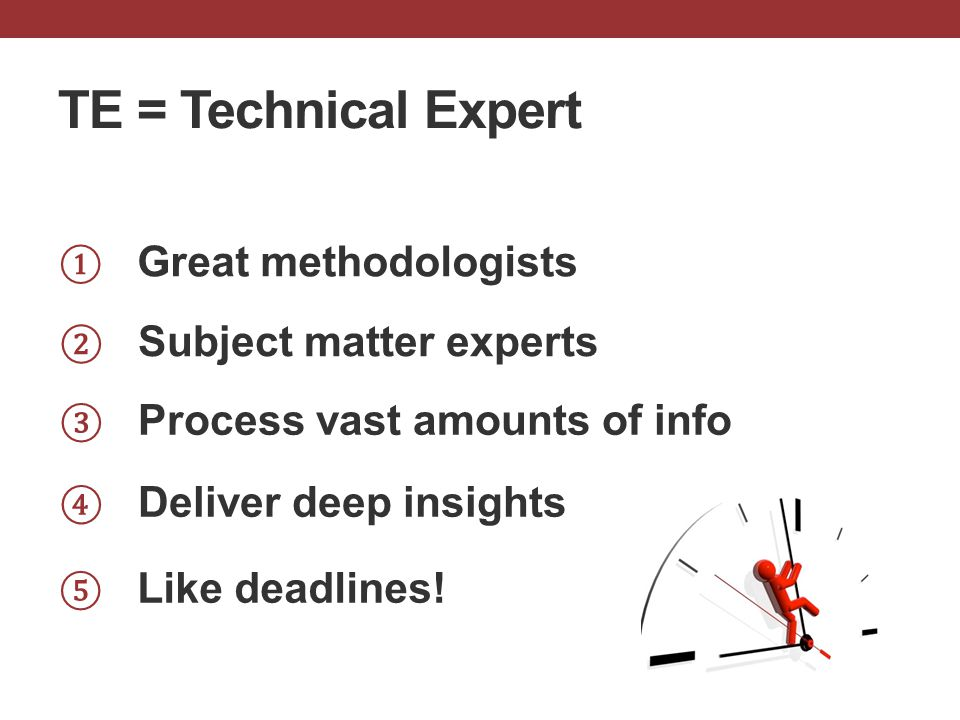 ① Great methodologists ③ Process vast amounts of info ④ Deliver deep insights ② Subject matter experts ⑤ Like deadlines! TE = Technical Expert
