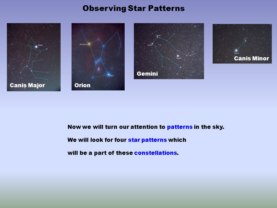 Now we will turn our attention to patterns in the sky. We will look for four star patterns which will be a part of these constellations. Observing Sta