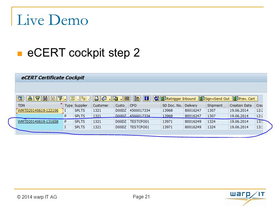 Live Demo eCERT cockpit step 2 Page 21 © 2014 warp IT AG