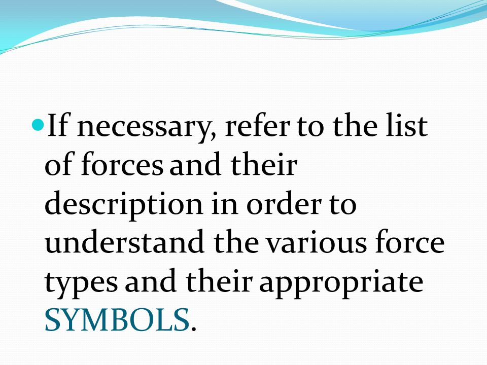 If necessary, refer to the list of forces and their description in order to understand the various force types and their appropriate SYMBOLS.