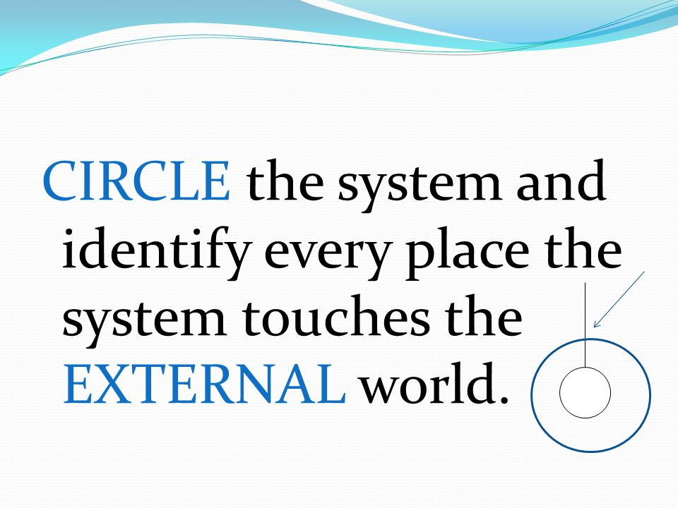 CIRCLE the system and identify every place the system touches the EXTERNAL world.