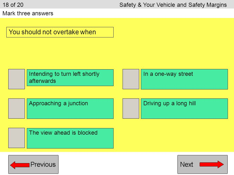 Turn the steering wheel towards the kerb Park with two wheels on the kerb Turn the steering wheel away from the kerb Park close to the bumper of anoth
