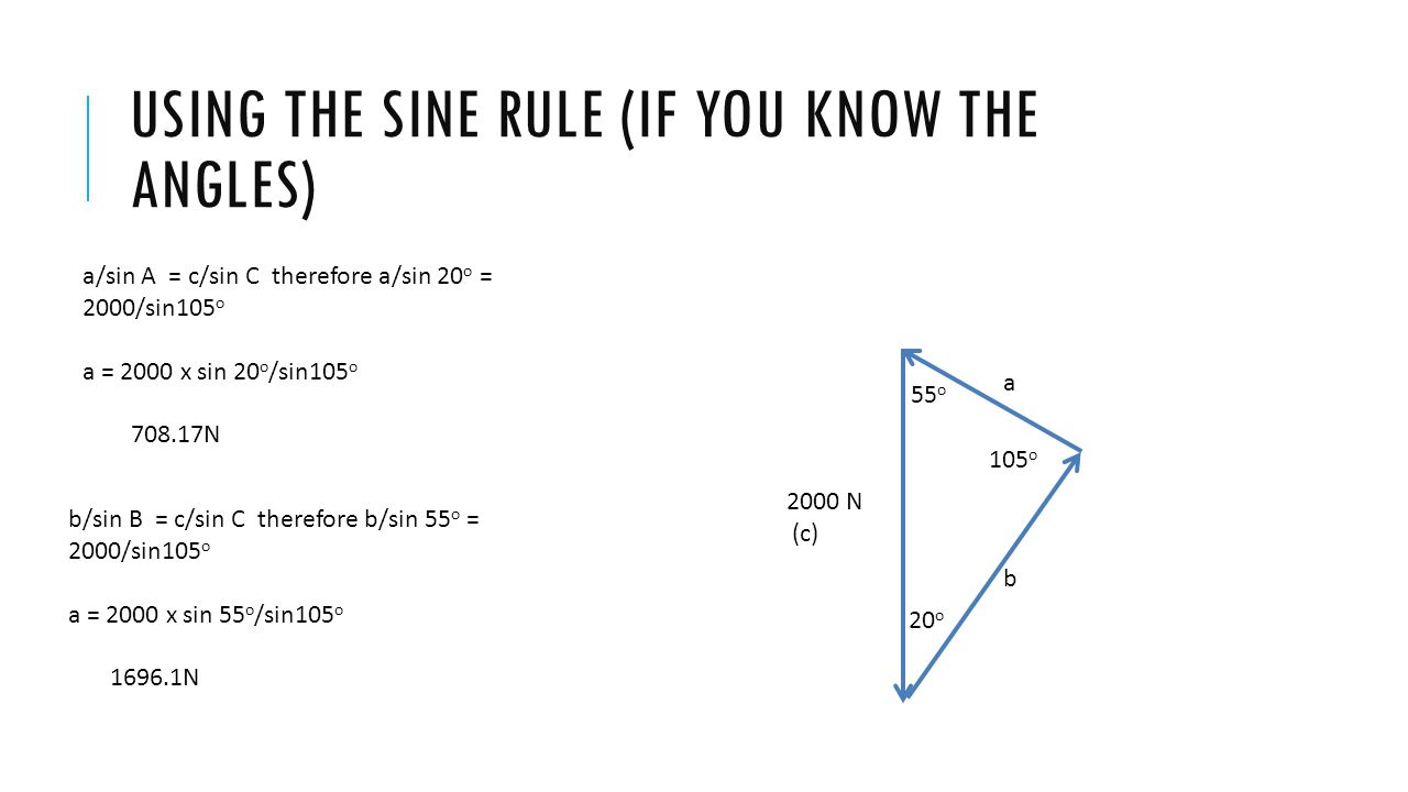 USING THE SINE RULE (IF YOU KNOW THE ANGLES) 20 o 55 o 105 o a b 2000 N (c) a/sin A = c/sin C therefore a/sin 20 o = 2000/sin105 o a = 2000 x sin 20 o