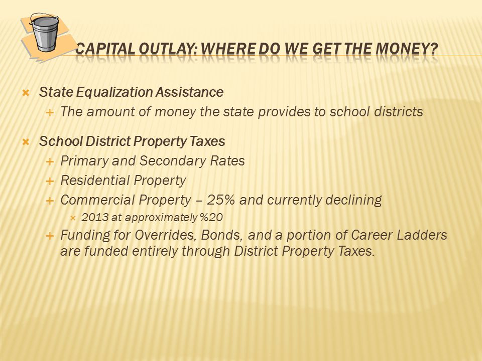  State Equalization Assistance  The amount of money the state provides to school districts  School District Property Taxes  Primary and Secondary