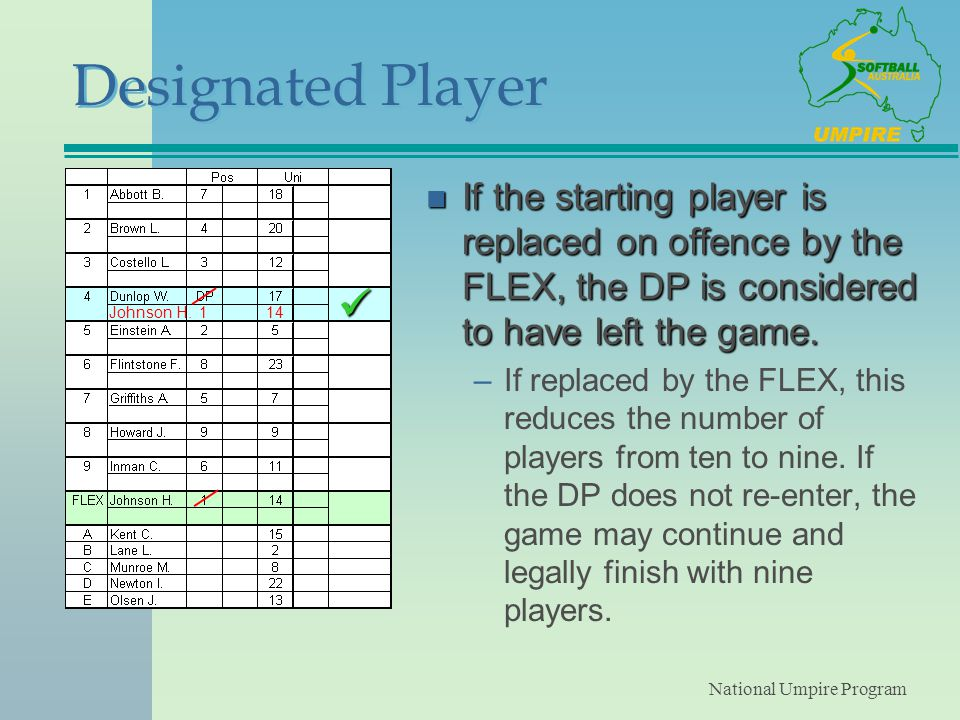 National Umpire Program Designated Player n If the starting player is replaced on offence by the FLEX, the DP is considered to have left the game.