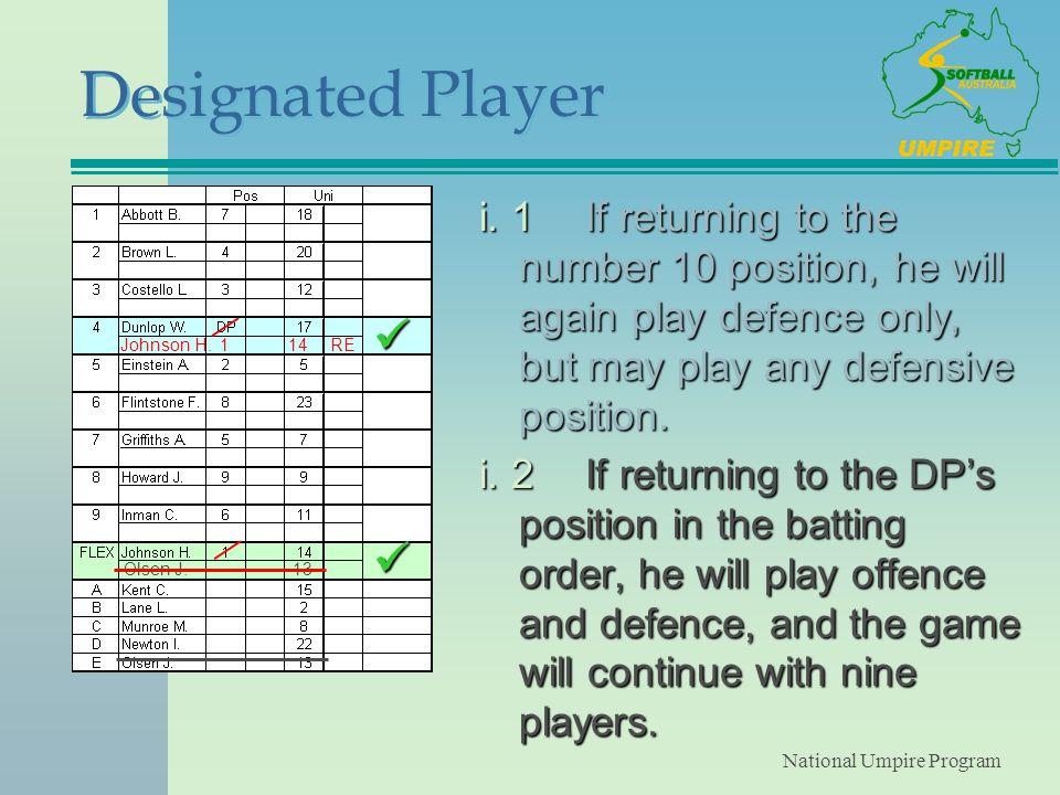 National Umpire Program Designated Player i.