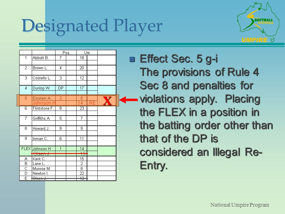 National Umpire Program Designated Player n Effect Sec.