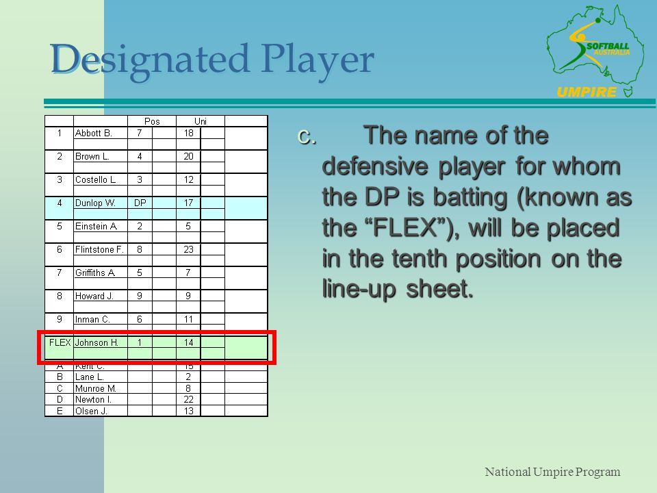 National Umpire Program Designated Player c.The name of the defensive player for whom the DP is batting (known as the FLEX ), will be placed in the tenth position on the line-up sheet.