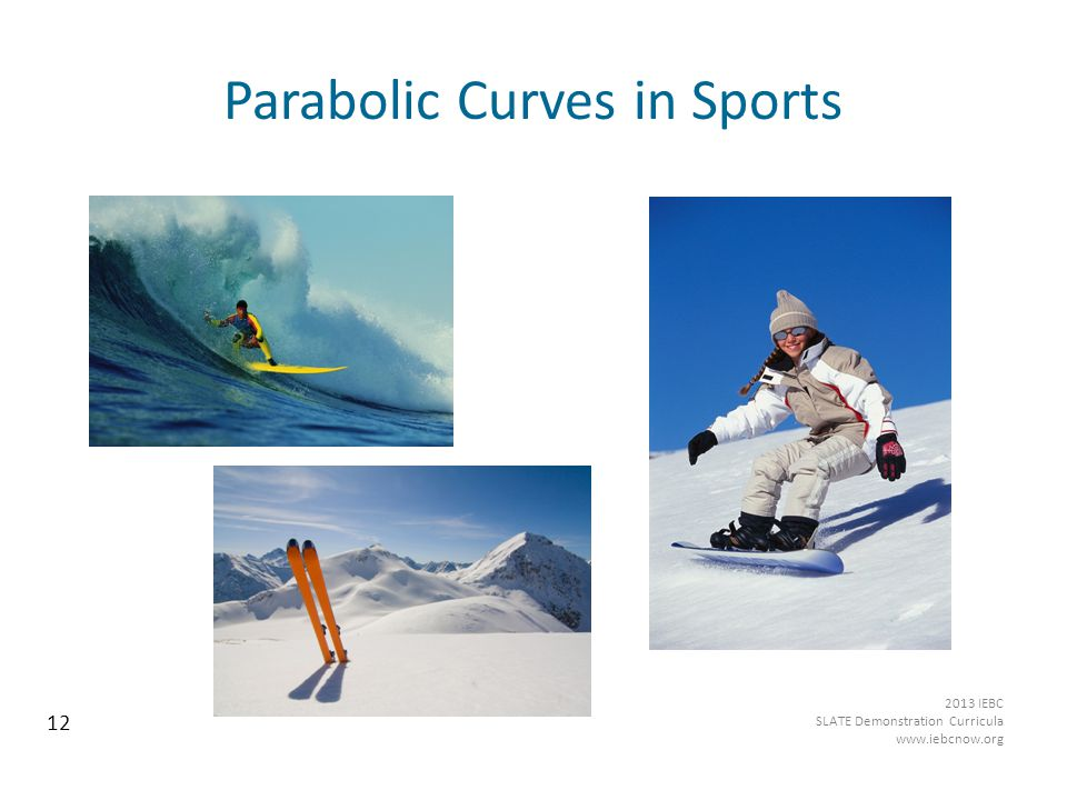 Parabolic Curves in Sports Source: www.Pics4Learning.com 12 2013 IEBC SLATE Demonstration Curricula www.iebcnow.org