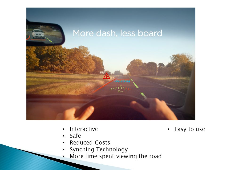 Interactive Safe Reduced Costs Synching Technology More time spent viewing the road Easy to use