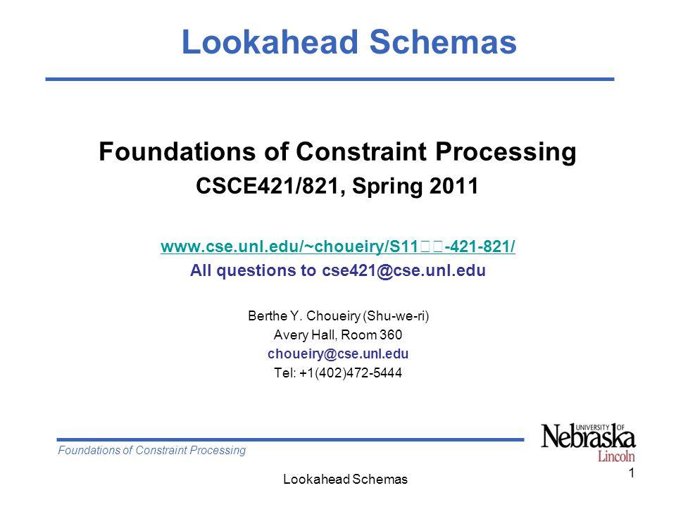 Foundations of Constraint Processing Lookahead Schemas 12 (BT Search +) MAC vs.