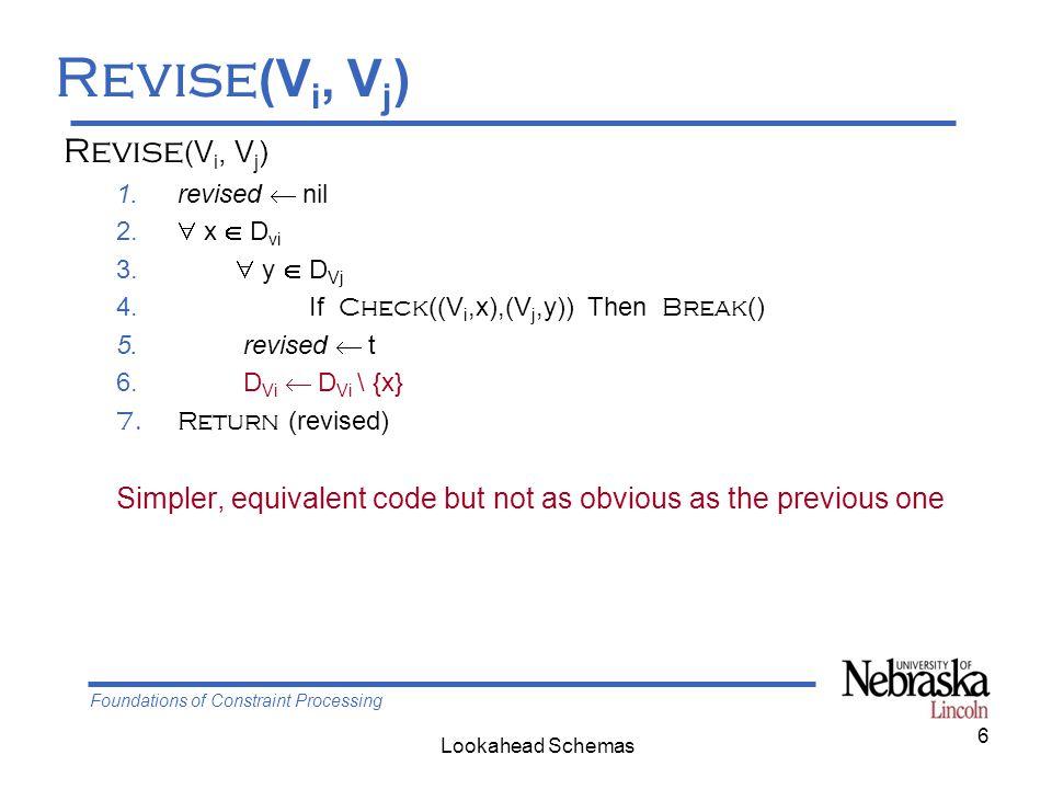 Foundations of Constraint Processing Lookahead Schemas 7 Domain filtering in lookahead V c current variable V f future variable {V f } all future variables Revise (V f, V c ) FC (V c ): 1.