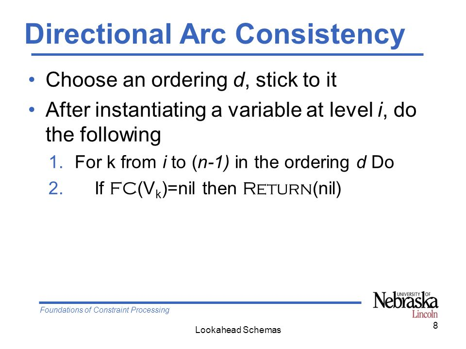 Foundations of Constraint Processing Lookahead Schemas Maintaining Arc Consistency First, FC (V c ), If it does not fail, then, form a queue with all constraints (V i,V j ) and (V j,V i ) between future variables, and run AC AC-1 1.Q  {(V i,V j ),(V j,V i ), …, (V k,V m ), (V m,V K )} 2.Change  true 3.While Change Do 4.