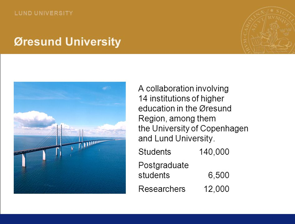 13 L U N D U N I V E R S I T Y Øresund University A collaboration involving 14 institutions of higher education in the Øresund Region, among them the