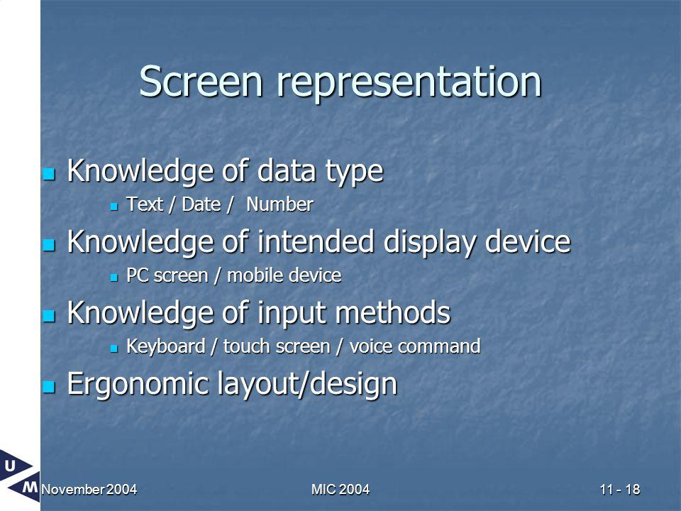 November 2004MIC 200411 - 18 Screen representation Knowledge of data type Knowledge of data type Text / Date / Number Text / Date / Number Knowledge o