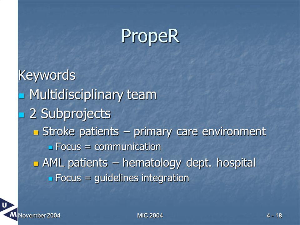 November 2004MIC 20044 - 18 PropeR Keywords Multidisciplinary team Multidisciplinary team 2 Subprojects 2 Subprojects Stroke patients – primary care e