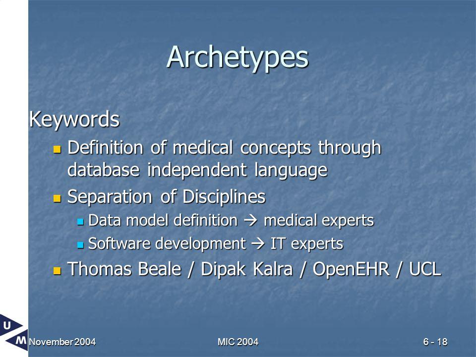 November 2004MIC 20046 - 18 Archetypes Keywords Definition of medical concepts through database independent language Definition of medical concepts th