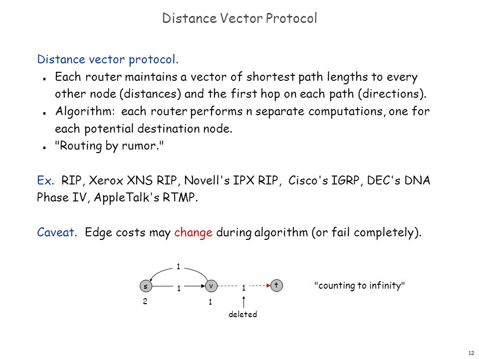12 Distance Vector Protocol Distance vector protocol. n Each router maintains a vector of shortest path lengths to every other node (distances) and th