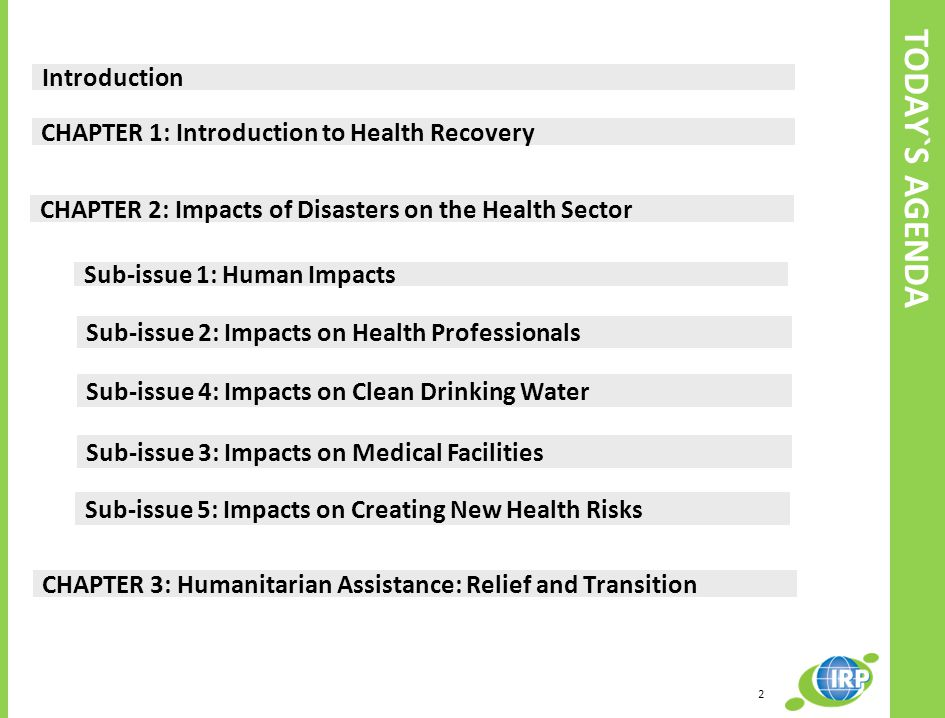 TODAY`S AGENDA Introduction CHAPTER 1: Introduction to Health Recovery CHAPTER 2: Impacts of Disasters on the Health Sector CHAPTER 3: Humanitarian Assistance: Relief and Transition Sub-issue 1: Human Impacts Sub-issue 2: Impacts on Health Professionals Sub-issue 3: Impacts on Medical Facilities Sub-issue 4: Impacts on Clean Drinking Water Sub-issue 5: Impacts on Creating New Health Risks 2
