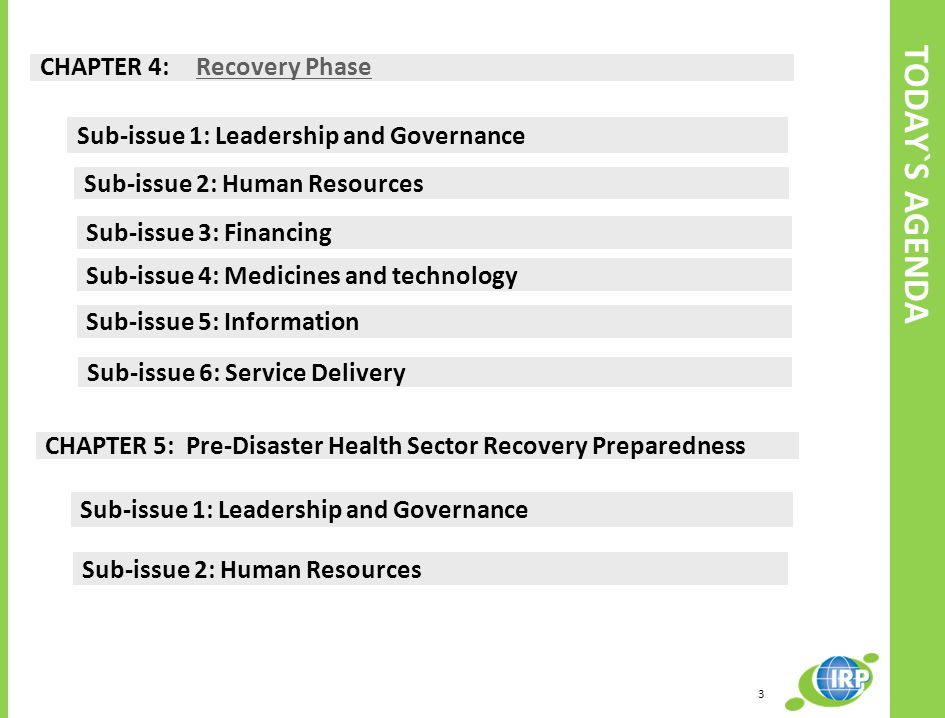 TODAY`S AGENDA CHAPTER 4: Recovery Phase Recovery Phase CHAPTER 5: Pre-Disaster Health Sector Recovery Preparedness Sub-issue 1: Leadership and Governance Sub-issue 2: Human Resources Sub-issue 3: Financing Sub-issue 4: Medicines and technology Sub-issue 5: Information Sub-issue 6: Service Delivery Sub-issue 1: Leadership and Governance Sub-issue 2: Human Resources 3