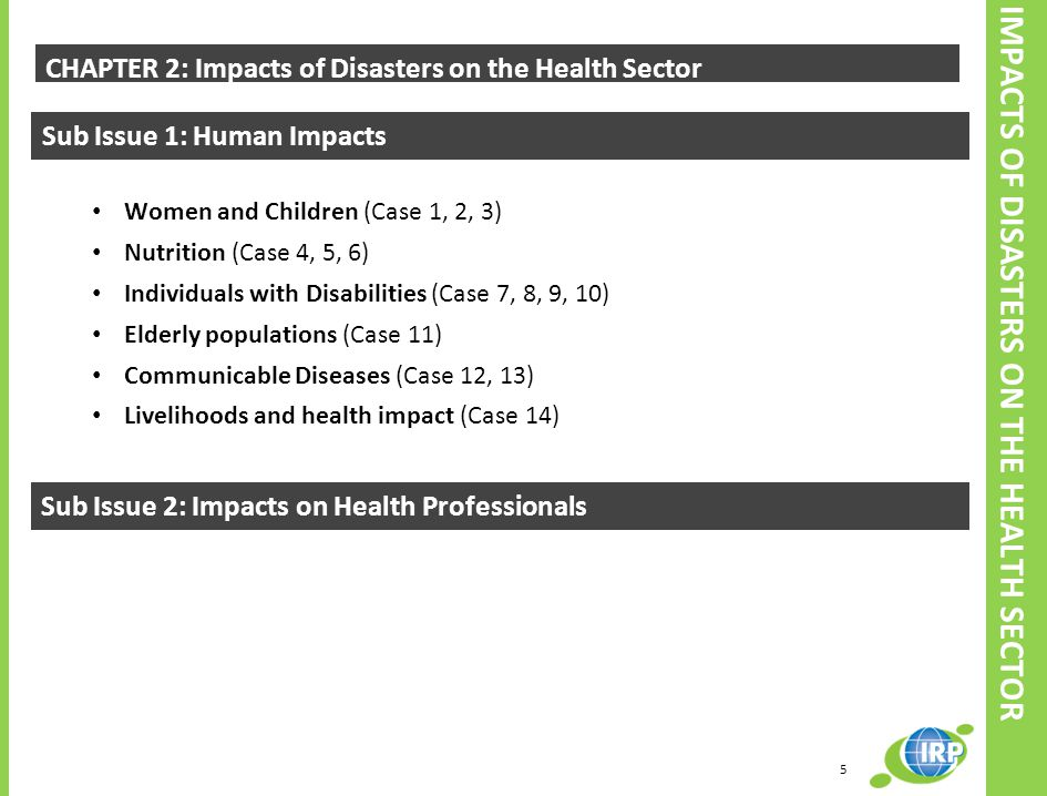 CHAPTER 2: Impacts of Disasters on the Health Sector Sub Issue 1: Human Impacts Women and Children (Case 1, 2, 3) Nutrition (Case 4, 5, 6) Individuals with Disabilities (Case 7, 8, 9, 10) Elderly populations (Case 11) Communicable Diseases (Case 12, 13) Livelihoods and health impact (Case 14) Sub Issue 2: Impacts on Health Professionals 5