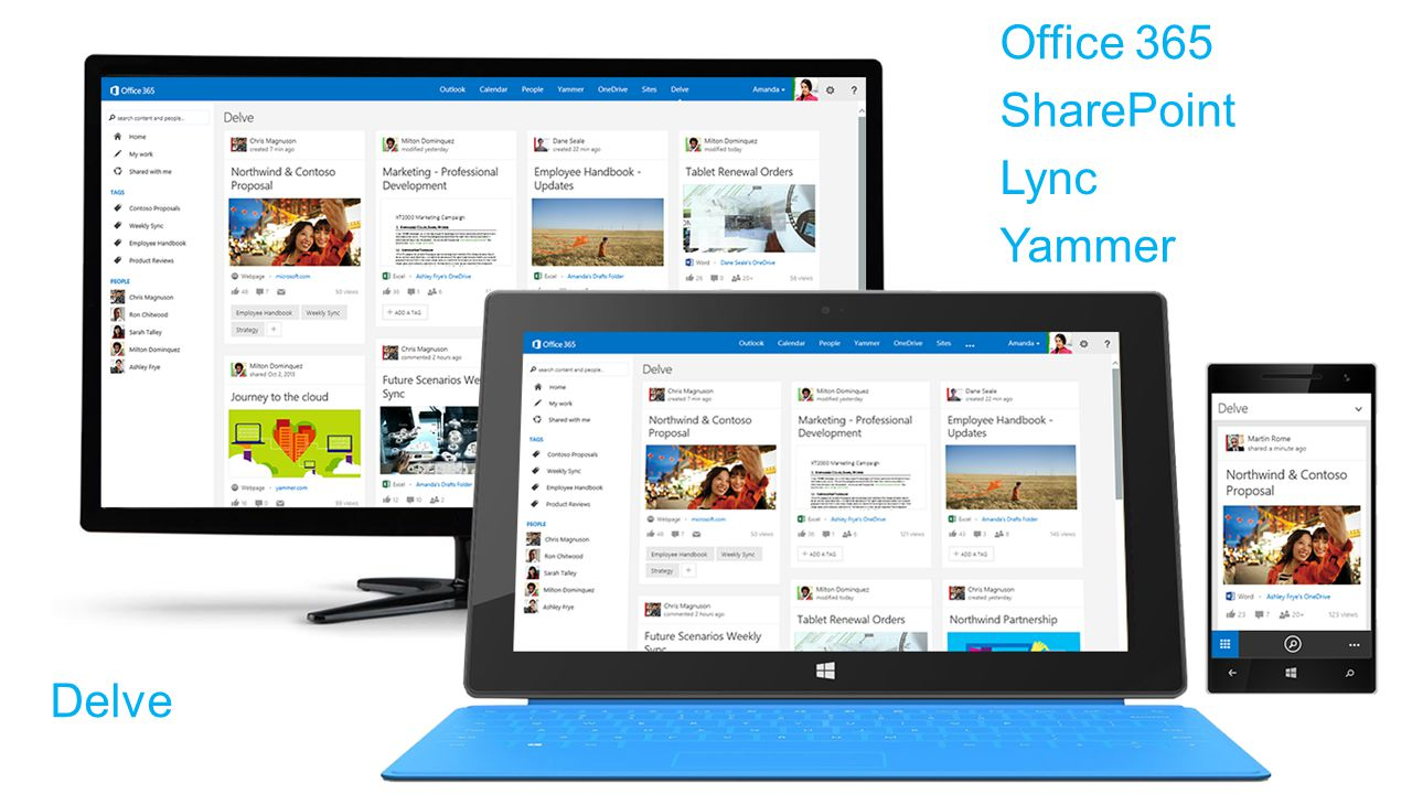 SharePoint Office 365 Lync Delve Yammer