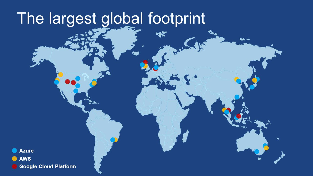 Azure AWS Google Cloud Platform The largest global footprint