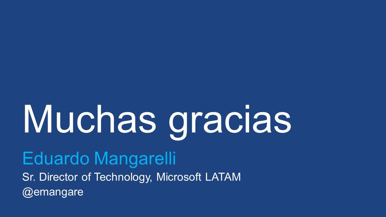 Muchas gracias Eduardo Mangarelli Sr. Director of Technology, Microsoft LATAM @emangare