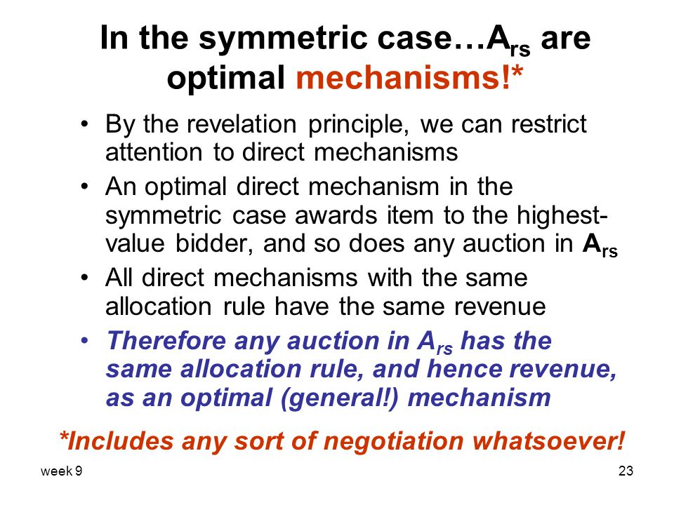 week 923 In the symmetric case…A rs are optimal mechanisms!* By the revelation principle, we can restrict attention to direct mechanisms An optimal direct mechanism in the symmetric case awards item to the highest- value bidder, and so does any auction in A rs All direct mechanisms with the same allocation rule have the same revenue Therefore any auction in A rs has the same allocation rule, and hence revenue, as an optimal (general!) mechanism *Includes any sort of negotiation whatsoever!