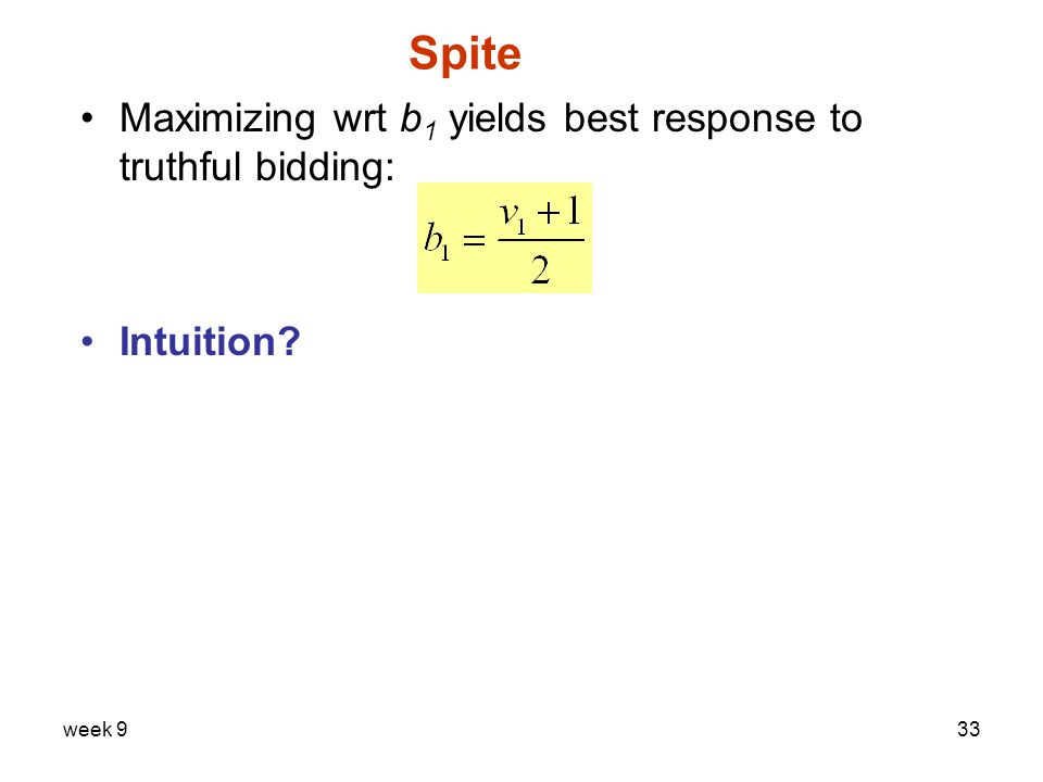 week 933 Spite Maximizing wrt b 1 yields best response to truthful bidding: Intuition