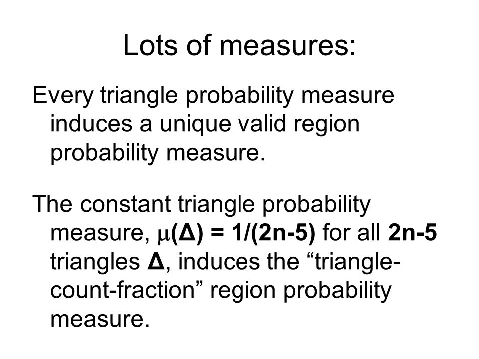 Every triangle probability measure induces a unique valid region probability measure.