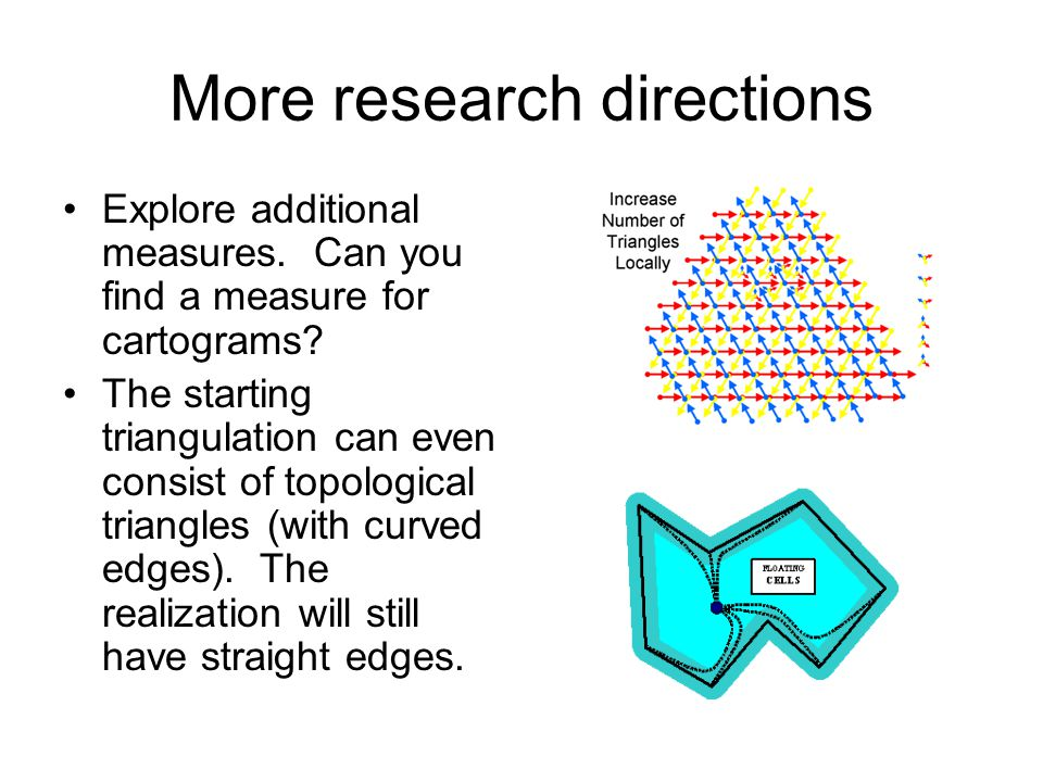 More research directions Explore additional measures.