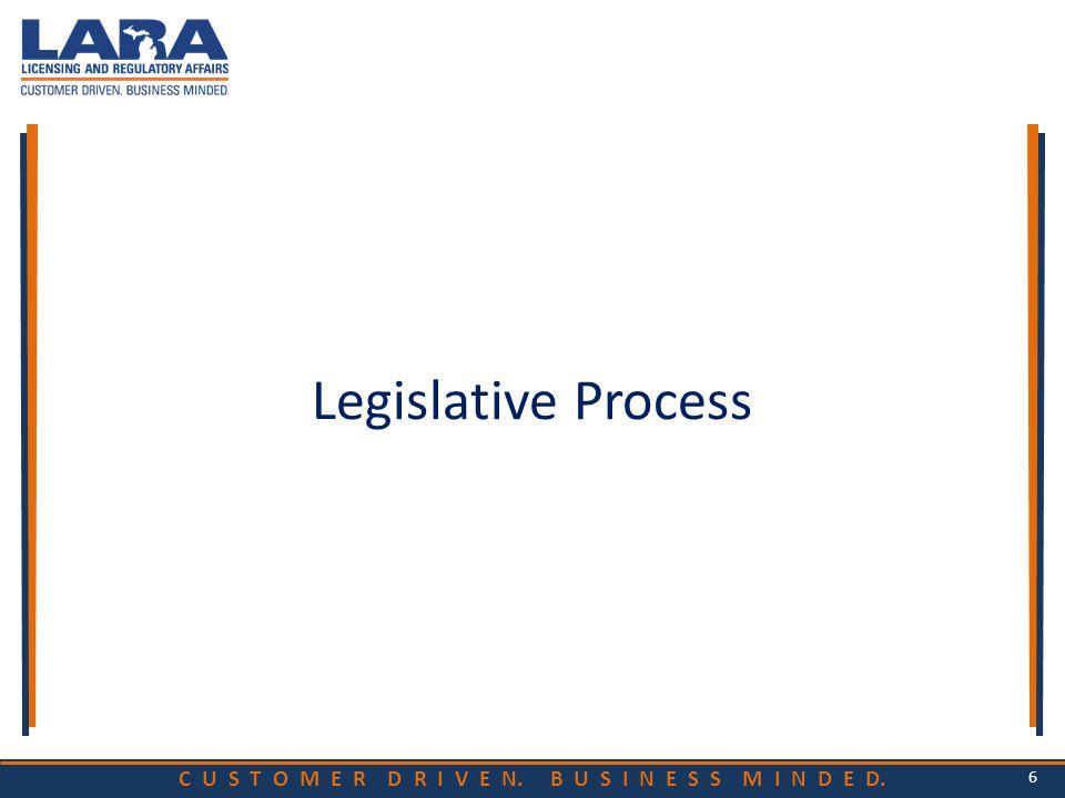 C U S T O M E R D R I V E N. B U S I N E S S M I N D E D. Legislative Process 6
